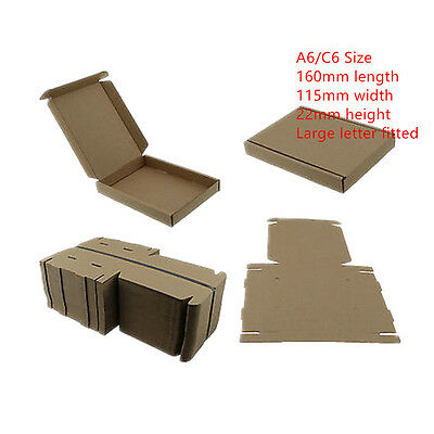 100 BROWN C6 A6 CARDBOARD POSTAL BOX 160x115x22mm ROYALMAIL LARGE LETTER PIP CS