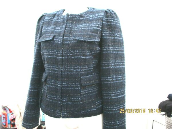 """red Herring"" Ladies Navy Blue Tweed Jacket Sz 12 Never Worn Garantire Un Aspetto Simile Al Nuovo In Modo Indefinibile"