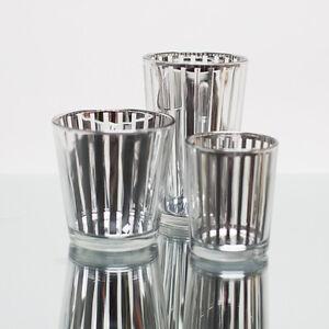 Richland Votive Candle Holder Silver Mercury Stripe Set of 48 Home & Event Decor