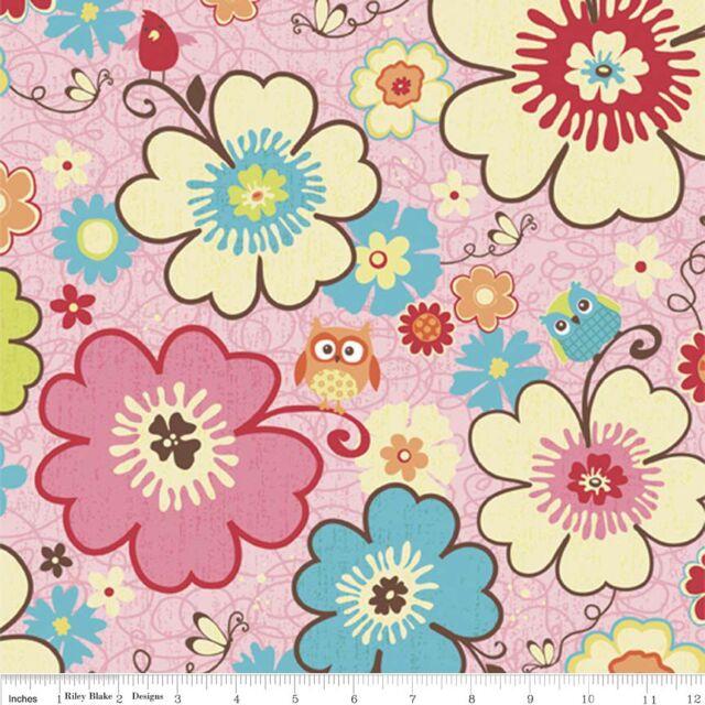 """Riley Blake """" Happy Flappers """" große Blumen und Eulen - rosa - Baumwollstoff"""