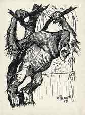 WACHPOSTEN ORANG UTAN - Max BERNUTH  Elberfeld - Strichätzung 1929 Heyder Verlag