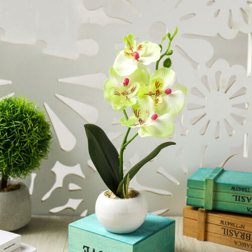 Silk Artificial Fake Orchid Flower Potted Plant Bonsai Party//Garden//Home Decor
