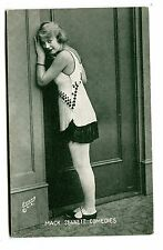 Vintage ARCADE CARD MACK SENNETT COMEDIES Silent Movies woman in doorway