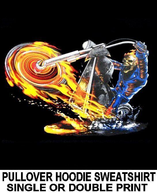 FLAMING GHOST SKULL MOTORCYCLE RIDER BIKER V-TWIN CHOPPER HOODIE SWEATSHIRT X133