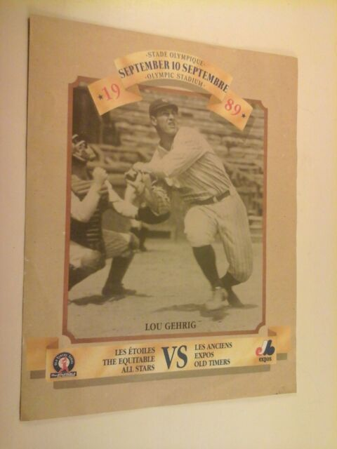 1989 Equitable All Stars vs. Expos Old Timers Series Program w/ Lou Gehrig cvr