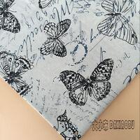 50x150cm Cotton Linen Fabric DIY Home Deco Cushion Black butterfly Letter 831 B
