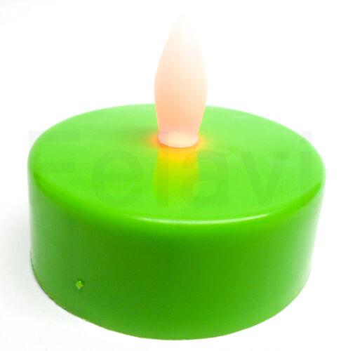 €1,00 //St. 10 Stück LED Teelicht XL 5,5cm LED Kerze Deko Farbwechsel grün