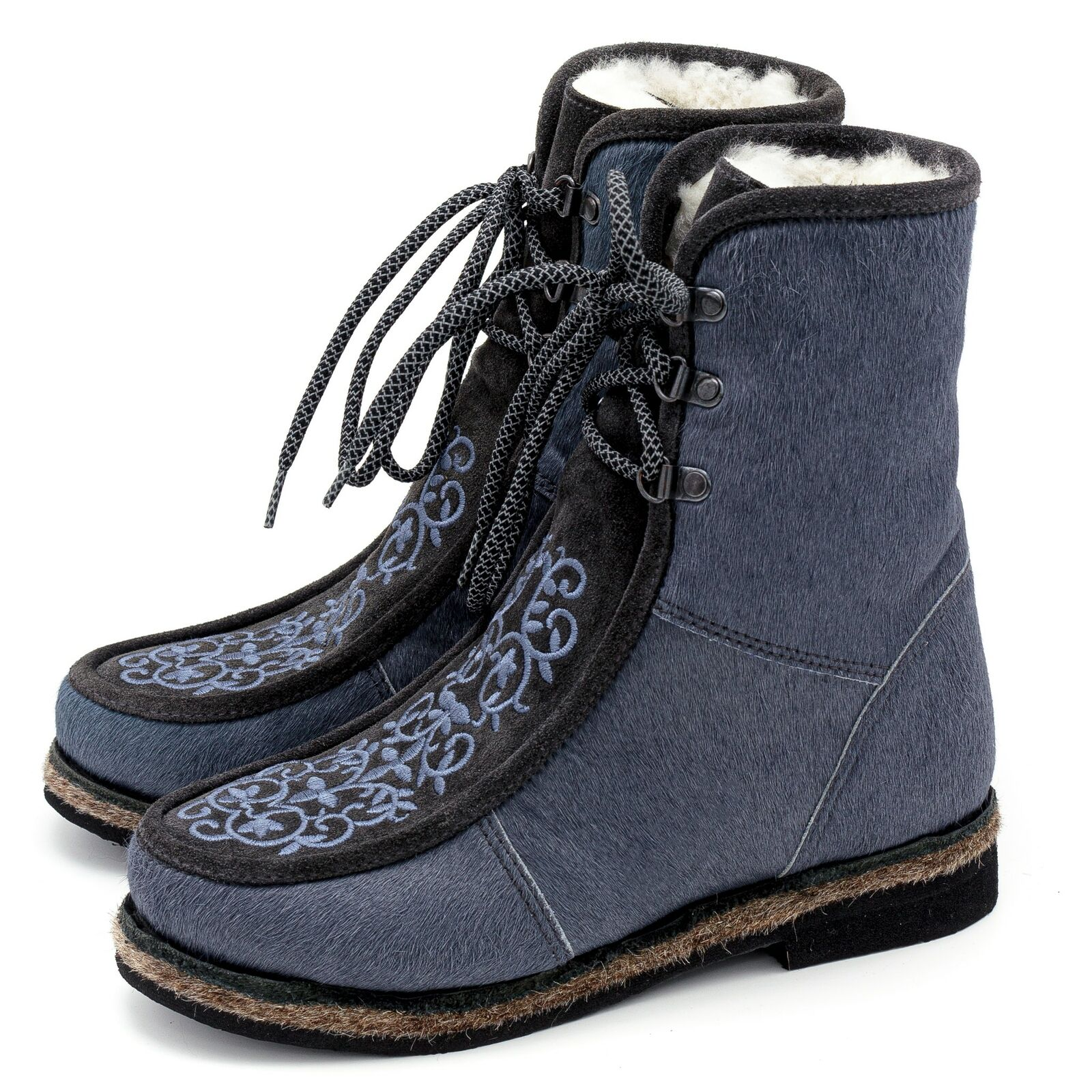 Fur Boots For Women Russian Style Unty Gray Embroidered With Suede Inserts
