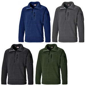 Dickies-Brookton-Fleece-JW7012-Mens-Half-Zip-Work-Sweater-Jumper