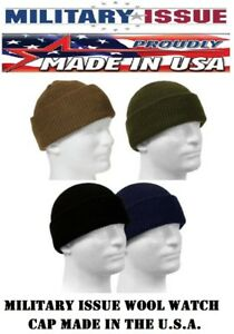 Genuine Military 100% Wool Watch Cap GSA Compliant Beanie Cap USA ... f061f3a76ad