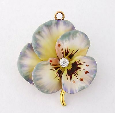 Antique Art Nouveau 14K Enamel Enameled Diamond Large Pansy Brooch Pin Pendant