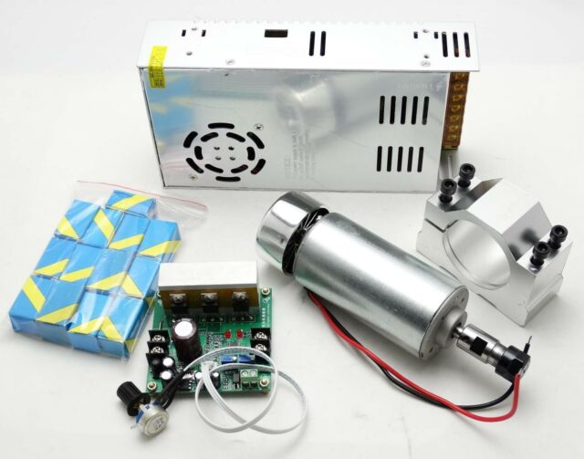 CNC 0.4KW 400W Spindle Motor +Mach3 PWM controller + Mount+Power supply+ collet