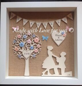 image is loading personalised engagement frame unique gift handmade - Engagement Picture Frame