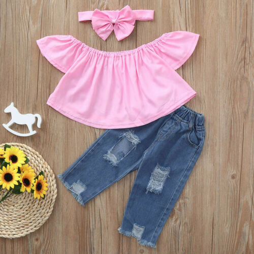 Baby Girls Kids T Shirt Top+Ripped Jeans Denim Pants Summer Outfits Clothes CO