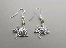 Turtle tortoise charm drop earrings .. green crystal silver tone cute jewelry