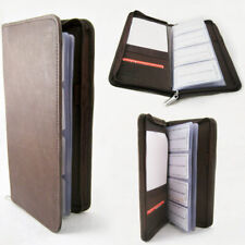 Genuine Leather Business Card Holder 160 Cards Organizer Book Ids Cards Brown