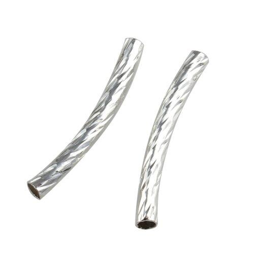 60 Röhrchen Messingröhrchen 25mm Rohre Gebogen Tube Perlen Schmuck DIY M15#3