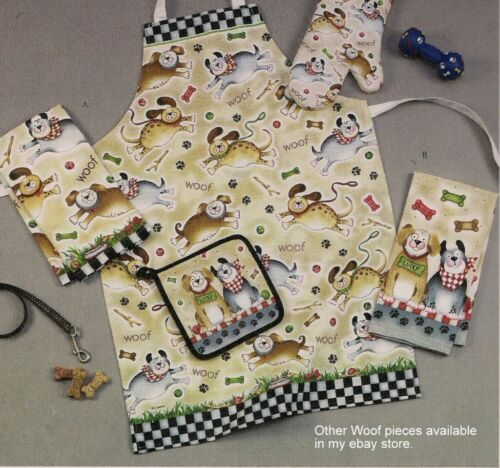 Dog Apron Woof Pattern Kay Dee Cotton