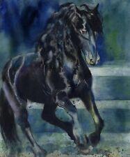 Giclee Print Watercolor Painting Friesian Morgan Andalusian Horse Art Bridled