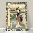 "Beautiful Japanese GEISHA Art ~ CANVAS PRINT 24x16"" Yamashiro River Sadacage #2"