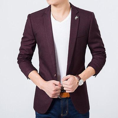 Mens Maroon Slim fit blazer suit coat jacket + Bow tie free