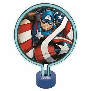 Marvel-Avengers-Captain-America-Lumiere-Fluo-Chevet-Tables-Bureaus-Tablettes