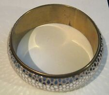 Bracelet gorgeous gold tone metal bangle with silvered scale exterior 2½ins wide