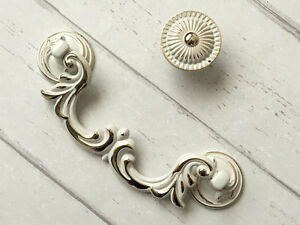 Details About 3 75 4 25 Drop Bail Drawer Pull Cabinet Handle Cream White Gold 96 108 Mm