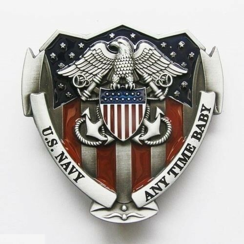 US NAVY Logo American Flag Belt Buckle Any Time Baby Patriot
