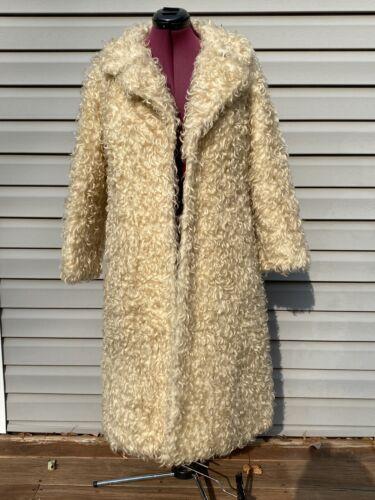 Vintage White Curly Lamb Fur COAT SHAG Faux Fur Ja