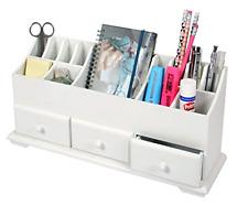 Desk Tidy Stationary Holder Storage Make Up Organizer White Wooden