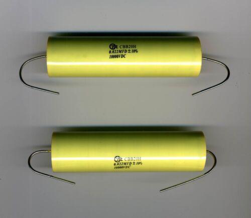 LOT DE 2 CONDENSATEURS POLYPROPYLENE TRES HAUTE TENSION 22 nF 10 kV LOW Z SSTC