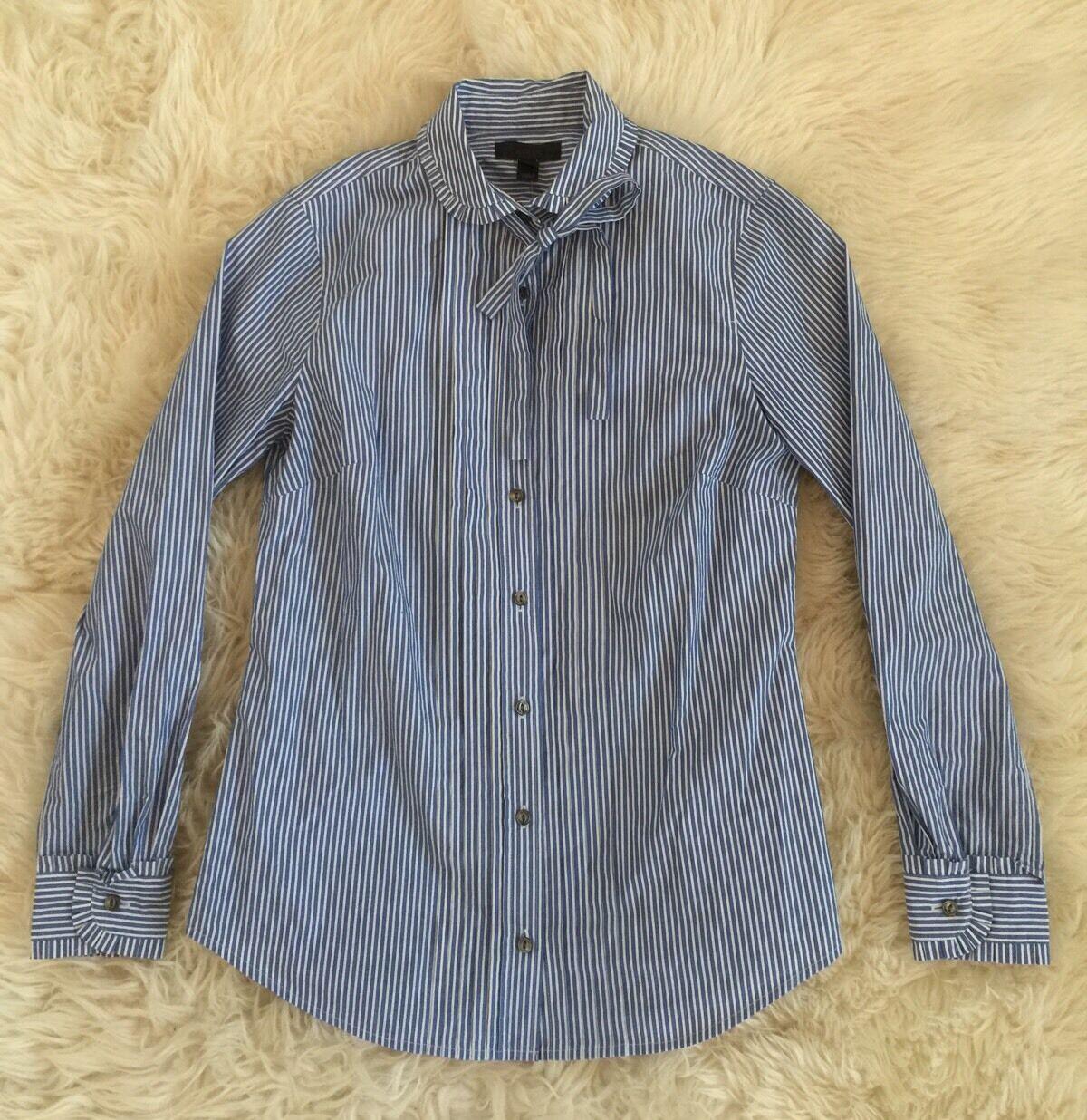 New J.Crew Striped Tie-neck Tuxedo Shirt With Ruffles  0 Blau F8446