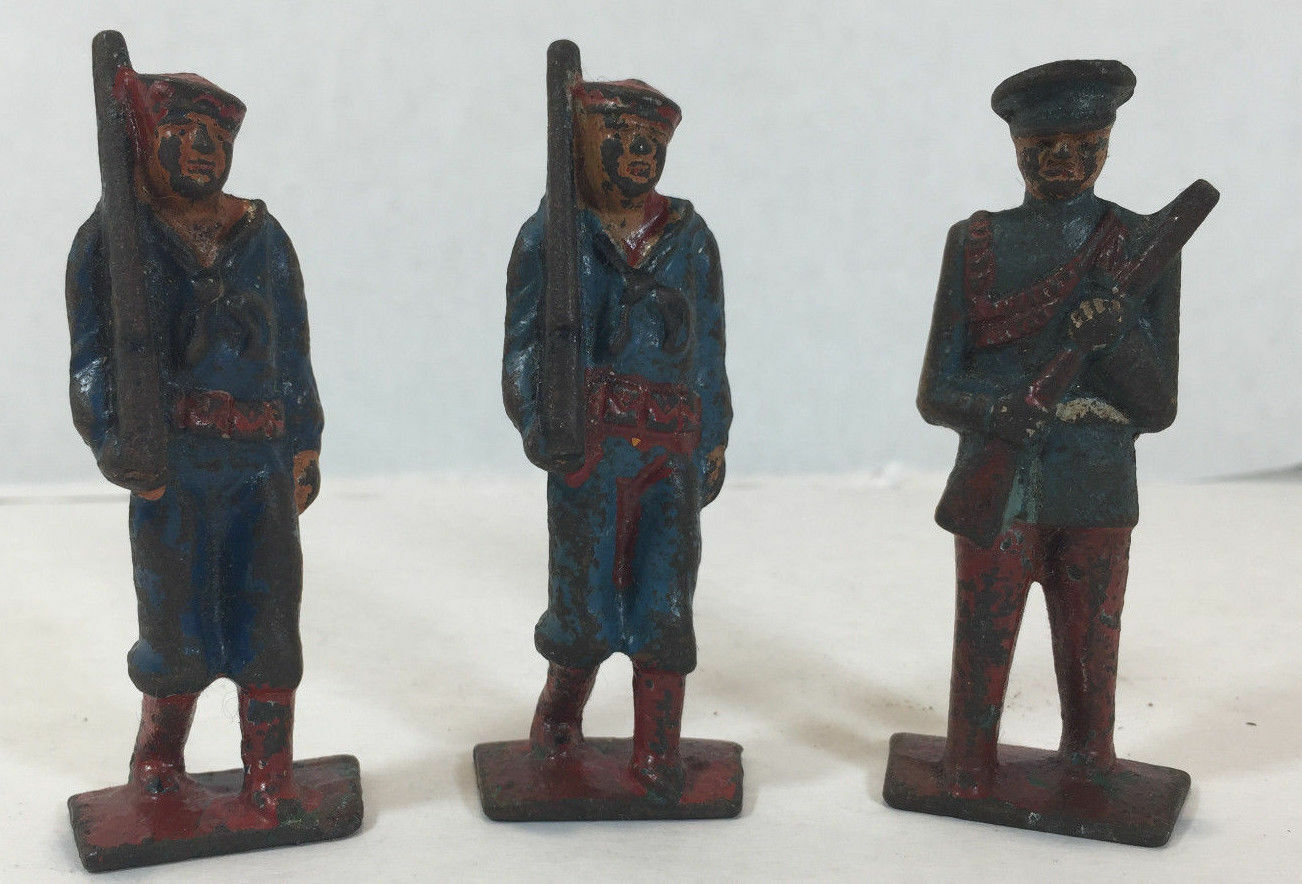 Vintage Antique Diecast Lead Toy Soldier Sailor Military - set of 3 - lot