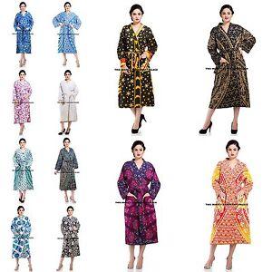 Image is loading Women-Cotton-Kimono-Indian-Casual-Bathrobe-Mandala-Printed- dd00b2a75