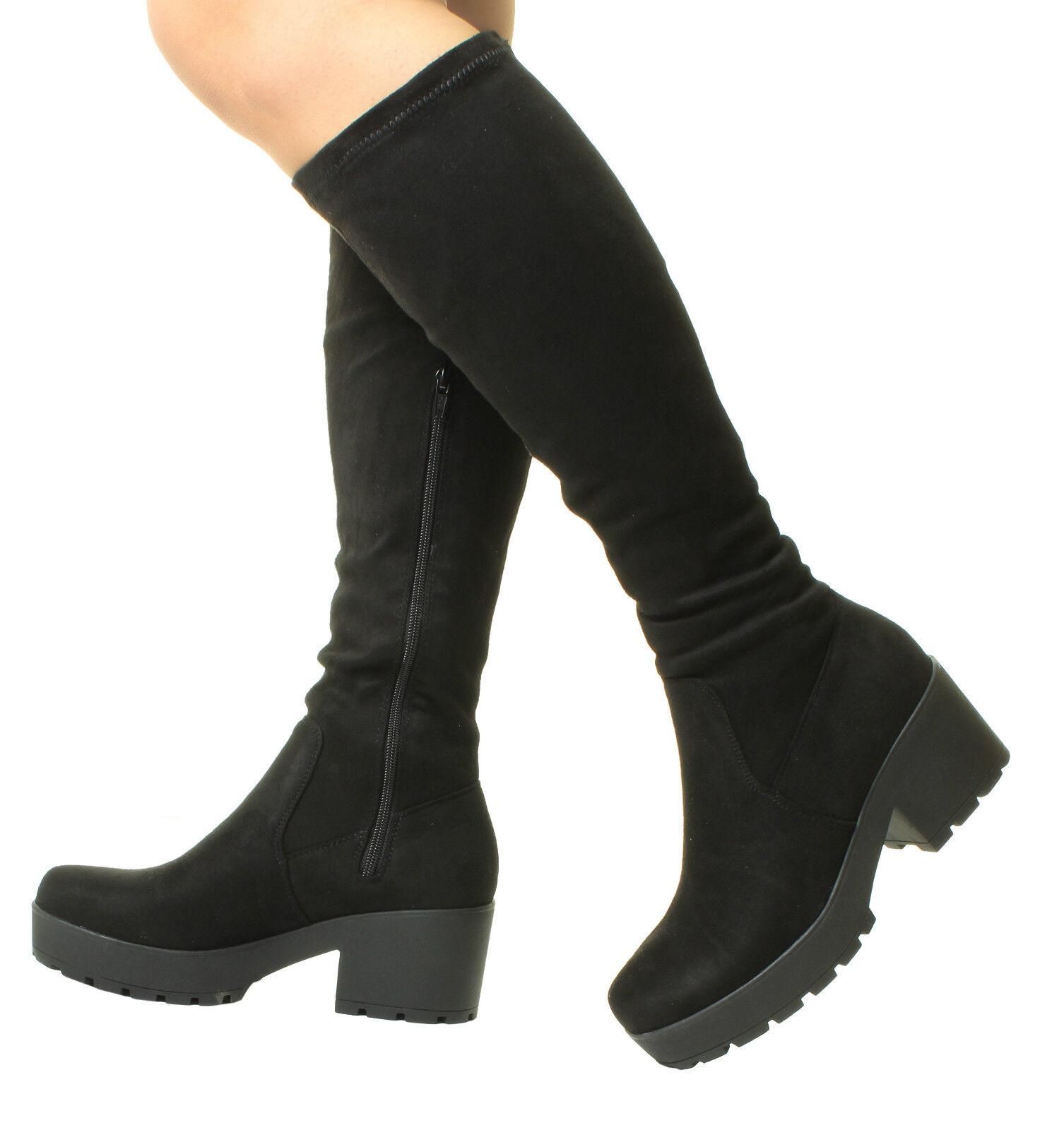 Ladies Mujer Negro Chunky Heel Suede Calf Stretch Wide Calf Fit Calf Suede Knee High botas fe42f7