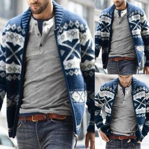 Mens Knitted Cardigan Sweater Winter Warm Zipper Up Jacket Coat Casual Knitwear