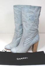 Chanel Light Blue Denim Western Logo Boots 40.5 UK 7.5