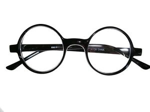 4648261f7f2 Image is loading Round-Black-Plastic-Reading-Glasses-Cheaters-Specs-Spex
