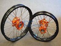 Ktm Sx 65 Ktm65 Black Rim Cnc Hub 14/12 Wheels Set I Orange 2001-2015 H Rmt01