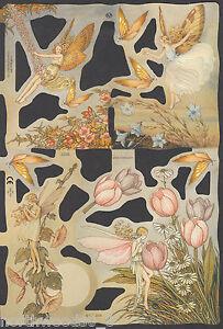 ANGEL WINGS ROBE GIFTS HOLLY CARD VICTORIAN  EMBOSSED GERMAN PAPER SCRAP CARD