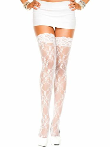 Lace thigh hi stockings with lace top available in one size /& plus size ML4555