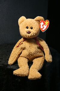4-12-96 Ty Original Beanie Baby Curly Brown Bear Burgundy Bow Tag ... 3bc9f9764fe