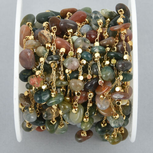 fch1060a gemstone chips beads 1 yard AGATE Rosary Chain gold links