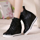Womens Leather Lace Up Wedge Hidden Heels Casual Fashion Sneakers Shoes Pumps Sz