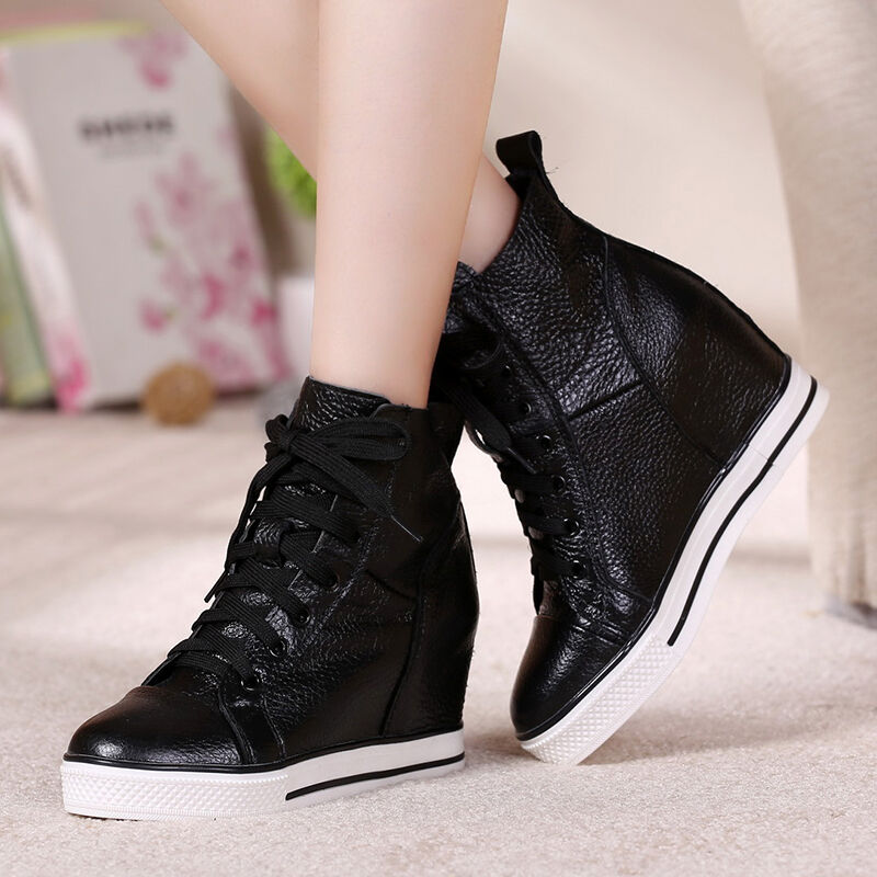 Womens Leather Lace Up Wedge Hidden Heels Casual Stylish Sneakers shoes College