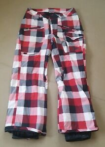 Vans-Women-039-s-Snowboard-Red-Checked-Trousers-Size-L-G-W36-L30