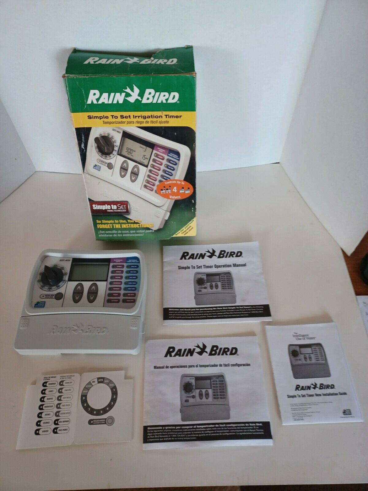 Rain Bird SST-400i 4 Zone Simple Set Indoor Timer Controller ONLY-NO POWER CORD