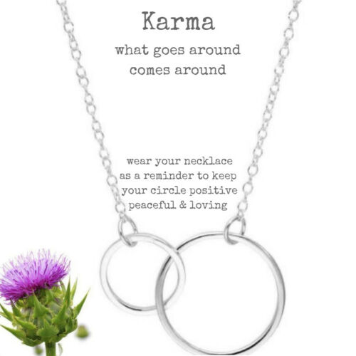 Circles Double Eternity Hoops Necklace Sterling Silver Karma Necklace