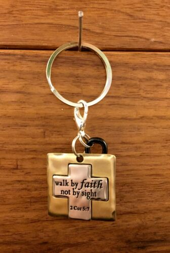 WALK BY FAITH NOT BY SIGHT gold /& silver Keyring Keychain w// blk infinity symbol